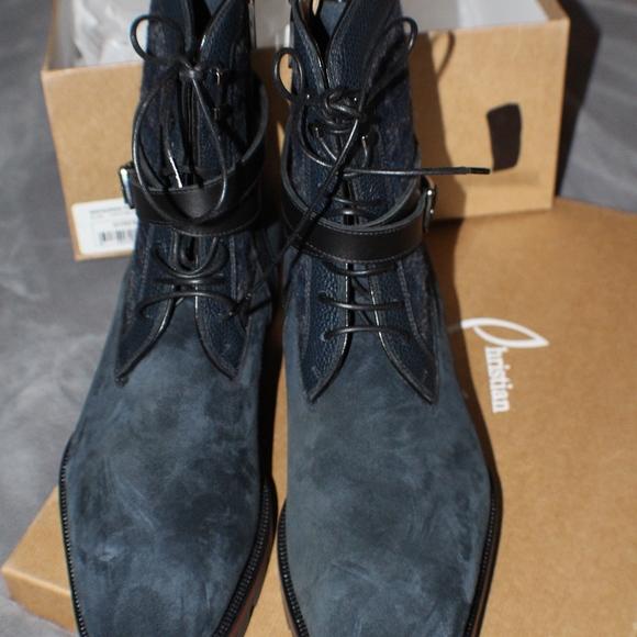 a5d3c73e6a3 Christian Louboutin Men Navy Blue/Black Flat Boots